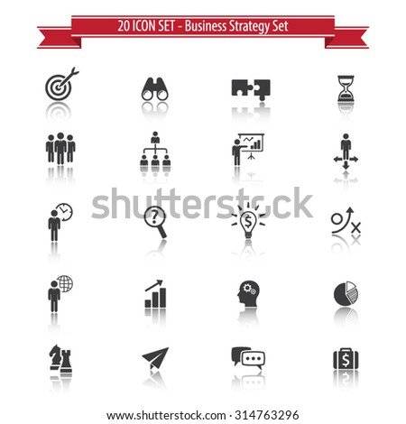 20 Icon Set. Business Strategy Set with Reflection. - stock vector