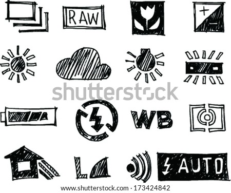 16 icon set, Photography doodle art style - stock vector