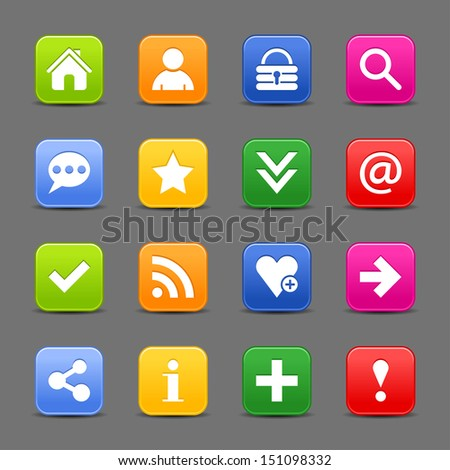 16 icon set with white basic sign. Rounded square satin button with drop shadow. Green, orange, blue, yellow, red shapes on light gray background. Vector illustration web design element 8 eps - stock vector