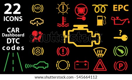 Icons Car Vector Illustration Eps Stock Vector - Car sign on dashboard