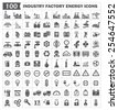 100 icon vector, industry factory energy. - stock vector