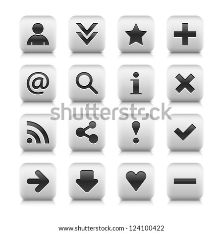 16 icon web button with basic sign. Series in a stone style. Rounded square button with black shadow and gray reflection on white background. Vector illustration clip-art design element in 8 eps - stock vector