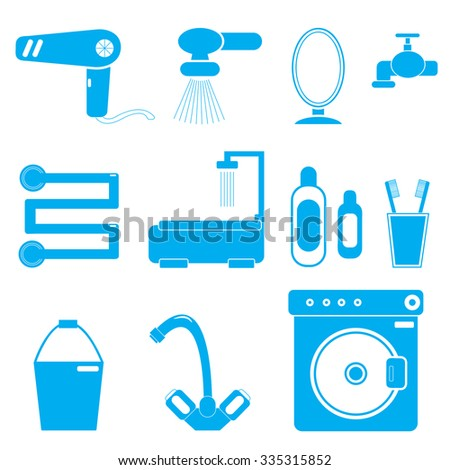 11 icons bathroom blue color on a white background