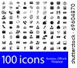 100 icons Business, Office & Finance - stock vector