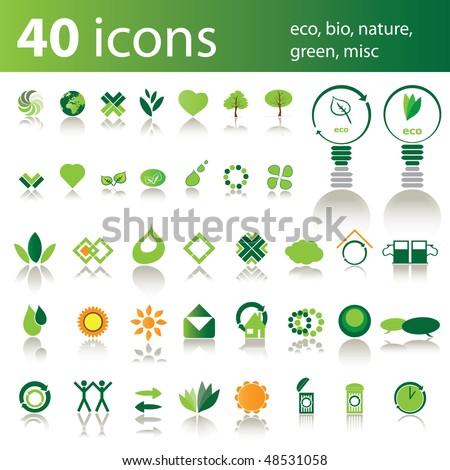 40 icons: eco, bio, nature, green, misc - stock vector