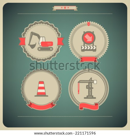4 icons from Construction Industry theme, from left to right, top to bottom -  Excavator, Warning sign, Traffic cone, Crane.