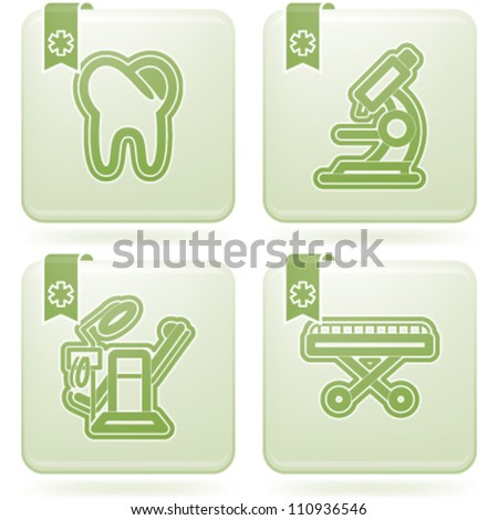 """4 icons in """"Healthcare"""" 22 degrees blue icons set from left to right:  Tooth, Microscope, Dental-chair, Stretcher. - stock vector"""