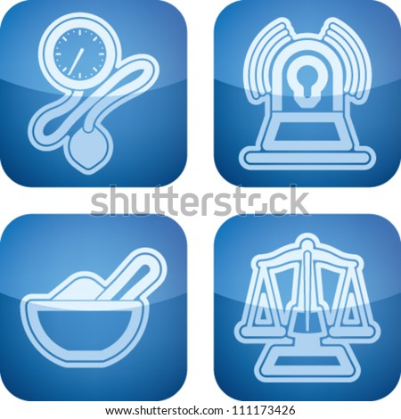 "4 icons in ""Healthcare"" from left to right:  Aneroid sphygmomanometer (Blood Pressure Gauge), Emergency vehicle lighting,"