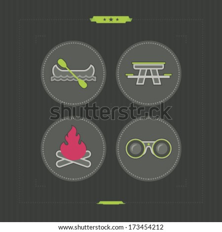 4 icons in relations to summer outdoor activity, pictured here from left to right, top to bottom: Canoe with paddle, Picnic table, Camp fire, Binoculars.
