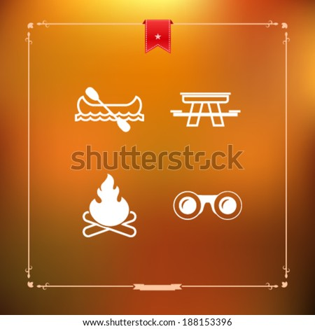 4 icons in relations to summer outdoor activity, pictured here from left to right, top to bottom -  Canoe with paddle, Picnic table, Camp fire, Binoculars.