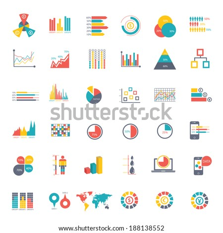 36 icons Infographics Data analysis on white background,vector - stock vector