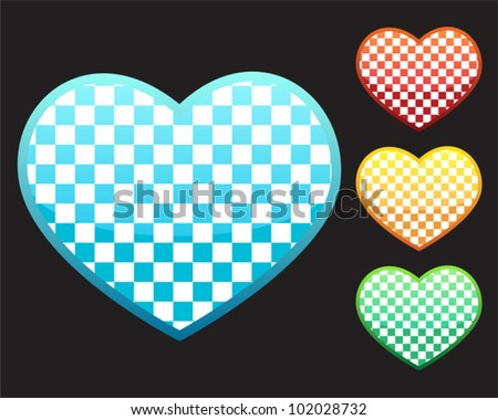 4 icons - love heart in chess pattern - stock vector