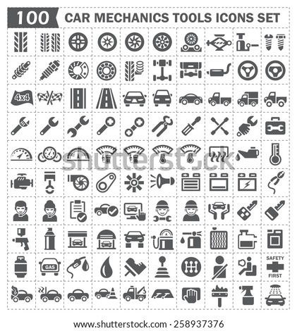 100 icons of car mechanics tools and accessories. - stock vector