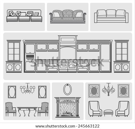 icons of different domestic kitchen, living room furniture
