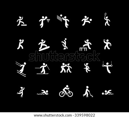 18 icons of sports and 2 icons of dancing styles - stock vector