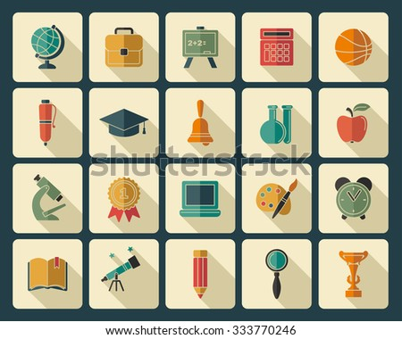 Icons on the theme of school and education - stock vector