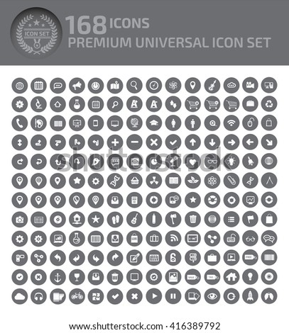 168 Icons,premium universal icon set, clean vector