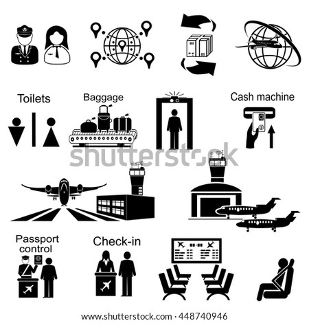 Icons set of different airport elements from airplane and terminal to passenger  isolated vector illustration