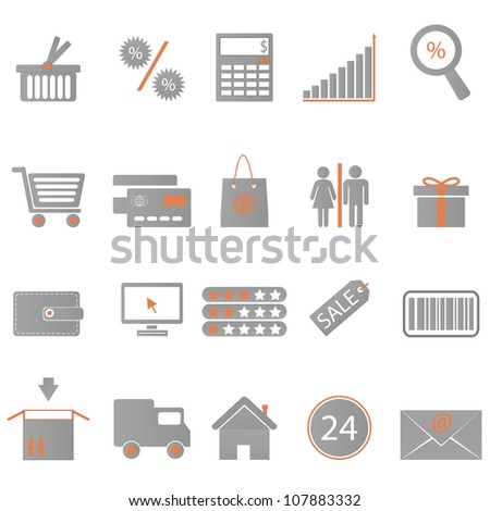 Icons set Shopping on  white background. Eps8 vector. - stock vector