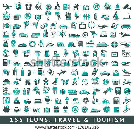 165 icons set with reflection, vector illustration - stock vector