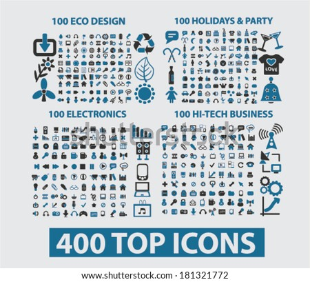 400 icons: website, internet, design, business, office, travel, media, holidays, nature, ecology. vector - stock vector