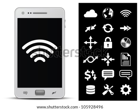 18 icons - wireless technology, network, internet, finance and security. Vector illustration - stock vector