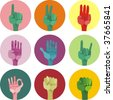 9 icons with different gestures - stock vector