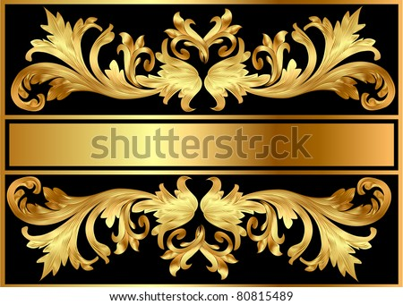 illustration background pattern frame from gild on black background - stock vector