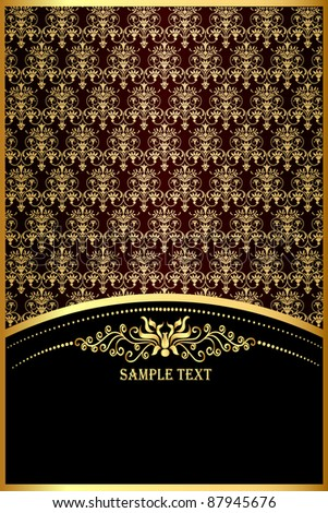 illustration background with gold(en) pattern for invitation - stock vector
