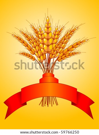 Illustration desing of ears of wheat on yellow background - stock vector