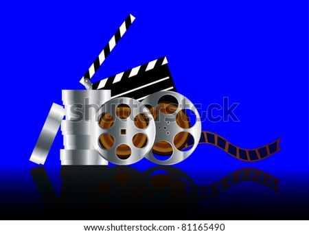 illustration film in reel with reflection on turn blue background - stock vector