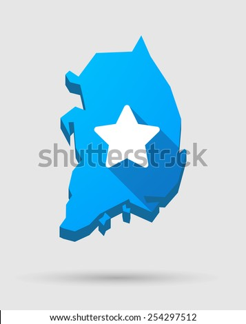 Illustration of a blue South Korea map with a star
