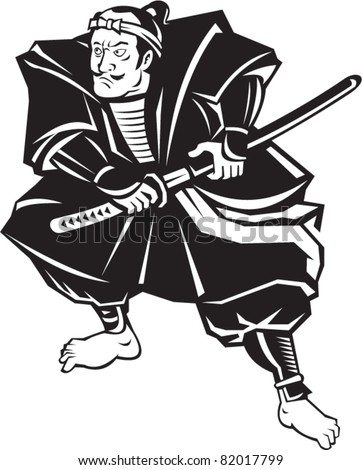 illustration of a Samurai warrior about to draw katana sword in fighting stance on isolated white background done in retro style