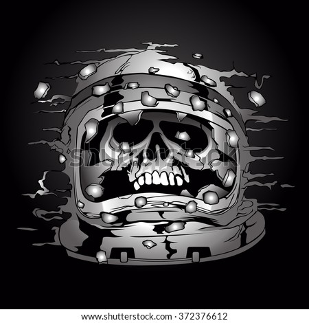 illustration of a skull wearing a space astronaut helmet. - stock vector