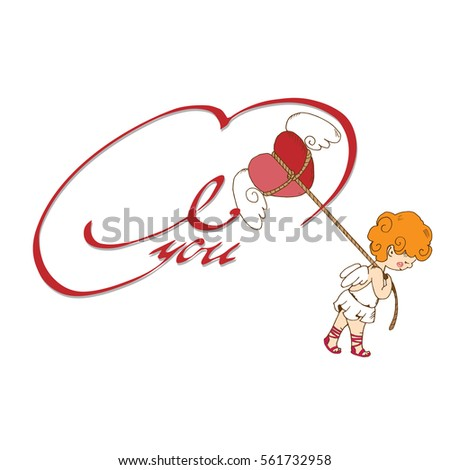 illustration of a valentines day with cupid vector isolated