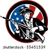 illustration of an American revolutionary soldier with rifle and flag in background set inside a circle - stock photo