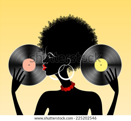 Illustration of beautiful african lady holding two vinyl records