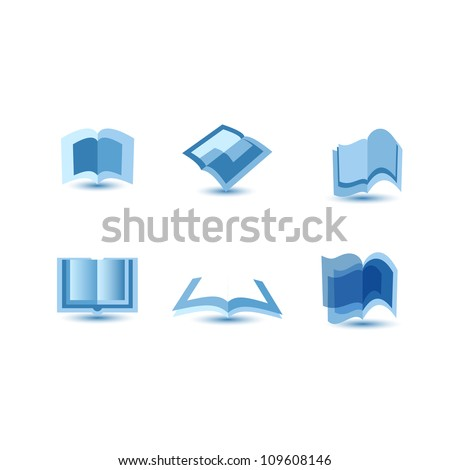 illustration of blue book icons - stock vector