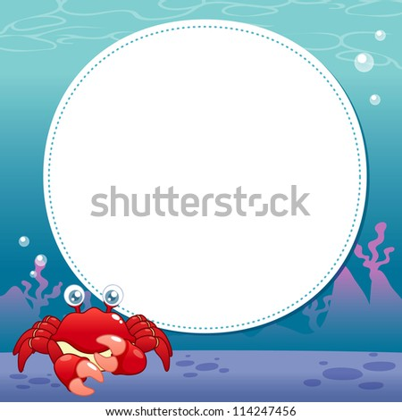 illustration of Cartoon crab with white blank - stock vector