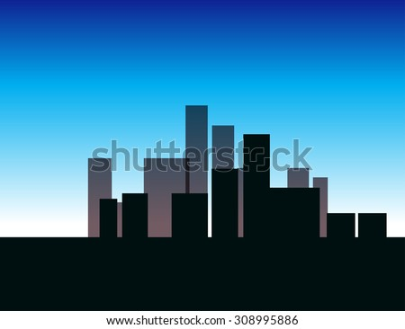 illustration of city landscape in color - stock vector