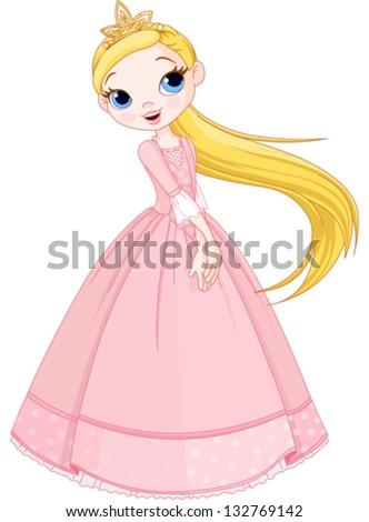 Illustration of cute princess girl - stock vector