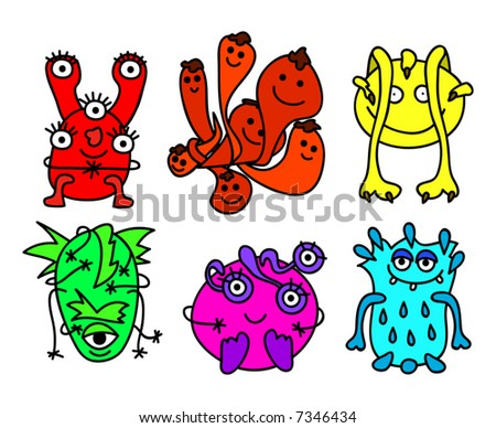 Illustration of 6 different monsters - stock vector