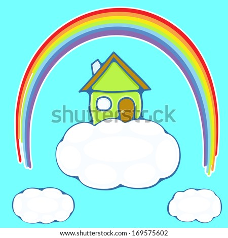 illustration of green house on a cloud under a rainbow - stock vector