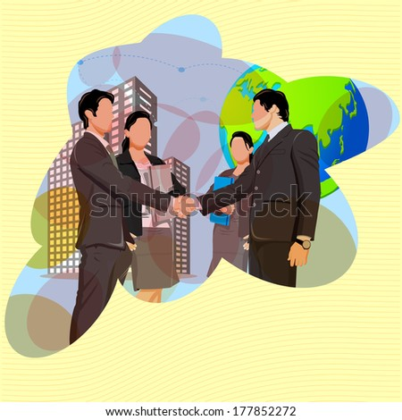 illustration of handshake with business team showing business partnership - stock vector