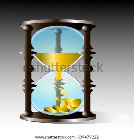 Illustration of hourglass with money