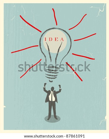 illustration of idea bulb. retro poster - stock vector
