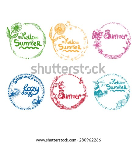Illustration of watercolor hand drawn romantic set labels in summer themes. Vector