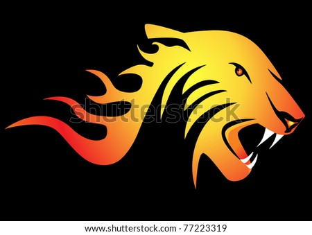illustration powerful burning tiger on black background - stock vector