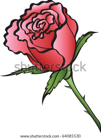illustration red rose on a white background. - stock vector