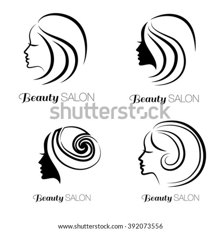 Illustration set of woman with beautiful hair - can be used as a logo for beauty salon - stock vector